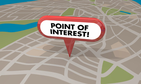 point of interest: Point of Interest Location Map Travel Tourism Spot 3d Illustration Stock Photo