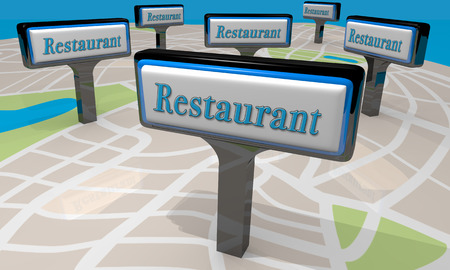 out of order: Restaurant Signs Map Locations Eat Dining Out Choices 3d Illustration