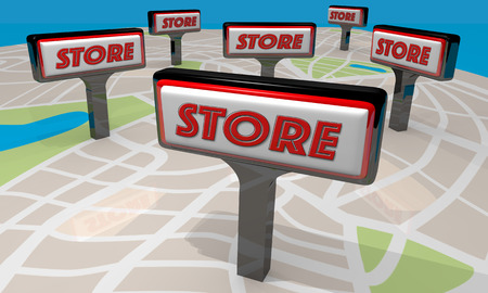locating: Store Business Company Signs Map Locations 3d Illustration