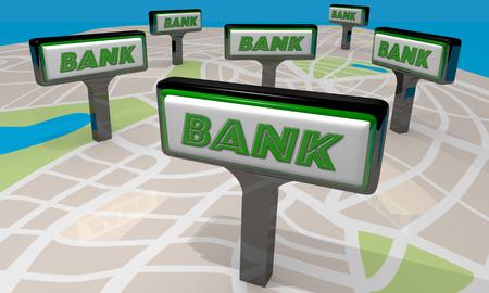 conclusion: Banco Instituciones Financieras Selecciones Señales Mapa 3d Ilustración Foto de archivo