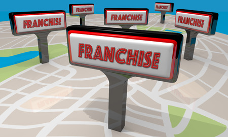 new opportunity: Franchise Sign Map New Business Opportunity 3d Illustration