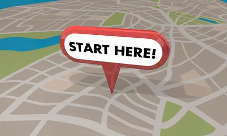 Start Here Pin Map Begin Spot Point 3d Illustration