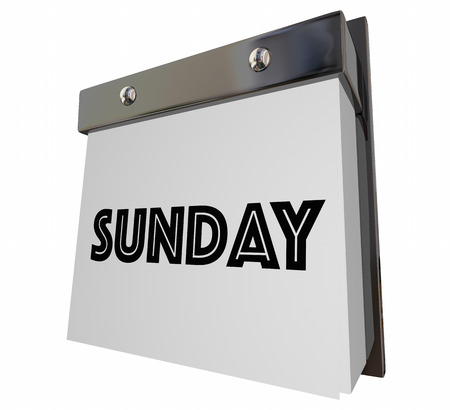 updating: Sunday Calendar Page Word 3d Illustration