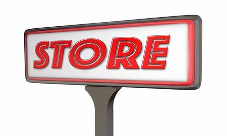 sign store: Store Sign New Business Opening 3d Illustration Stock Photo