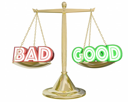 negatives: Good Vs Bad Scale Weighing Positive Negative Choices 3d Illustration Stock Photo