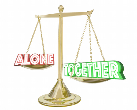 deciding: Together Vs Alone Cooperation Collaboration Scale 3d Illustration Stock Photo