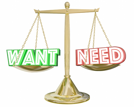 Want Vs Need Scale Compare Priorities Budget Spending 3d Illustration Stock Photo