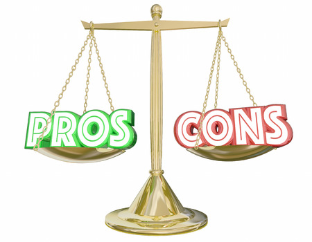 Pros Cons Scale Compare Positives Negatives 3d Illustration Stock Photo