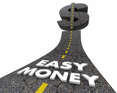 quick money: Easy Money Road Quick Fast Income Revenue 3d Illustration Stock Photo