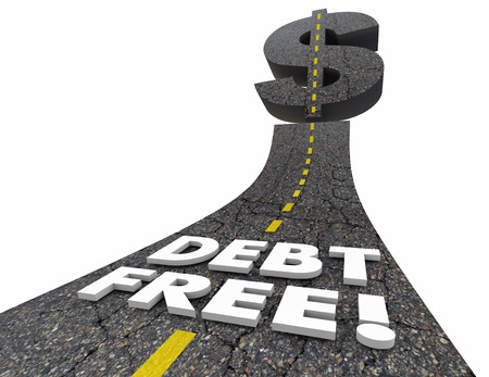 Debt Free Road Out of Bankruptcy Improve Finances 3d Illustration Stock Photo