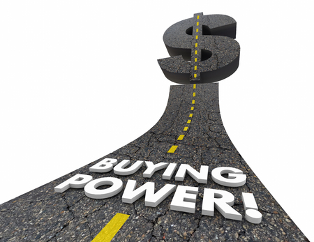 stronger: Buying Power Road Words Purchasing Spending 3d Illustration Stock Photo