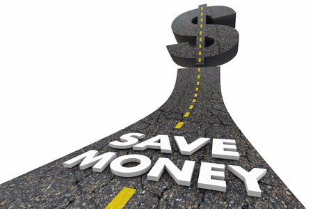 stronger: Save Money Road Words Spend Less Sale Price 3d Illustration