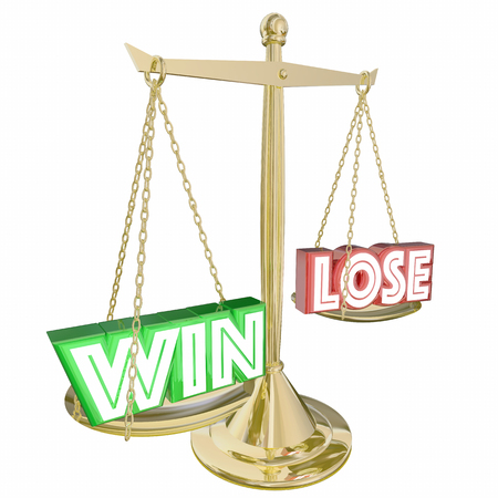 Win Vs Lose Scale Weighing Benefits 3d Illustration