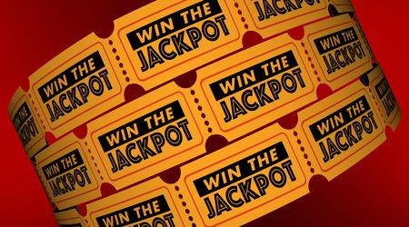 Win the Jackpot Contest Raffle Tickets 3d Illustration