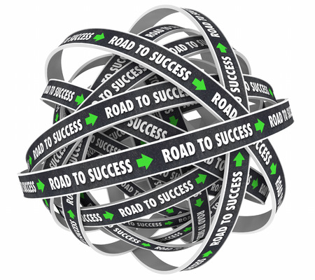 accomplish: Road to Success Achieve Goal Succeed 3d Illustration Stock Photo
