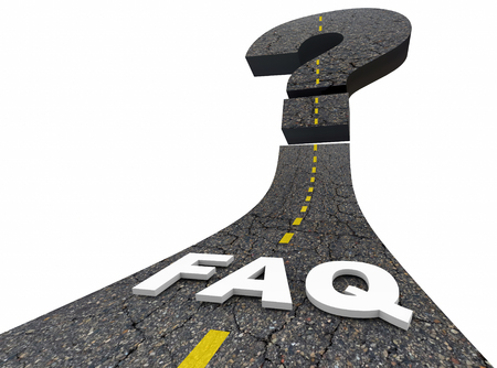seeking an answer: FAQ Frequently Asked Questions Road Answers 3d Illustration