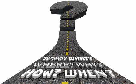 Question Mark Road Wie Wat Waar Wanneer Hoe Waarom 3D Illustratie Stockfoto