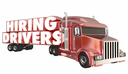 moving truck: Hiring Drivers Trucking Semi Open Jobs Positions 3d Illustration