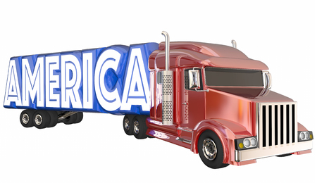 hauling: America USA Made in United States Truck Word 3d Illustration Stock Photo