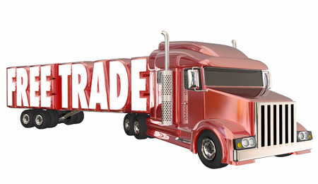 Free Trade Trucking Words No Tarriffs Taxes Fees 3d Illustration Stock Photo