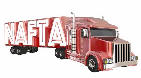 hauler: NAFTA North American Free Trade Agreement Truck 3d Illustration