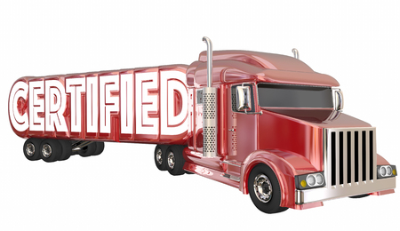 compliant: Certified Truck Driver Fleet Transportation 3d Illustration Stock Photo