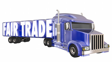 treaty: Fair Trade Exports Imports Justice Trucking Goods 3d Illustration Stock Photo