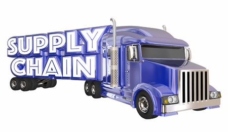 hauler: Supply Chain Truck Logistics Supplier Shipping Transportation 3d Illustration Stock Photo