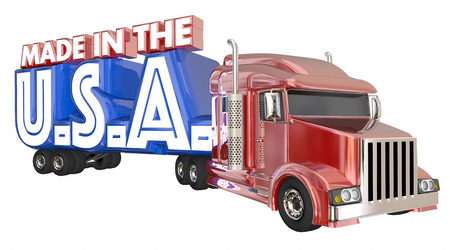 18 wheeler: Made in USA America Truck Products Domestic Goods 3d Illustration