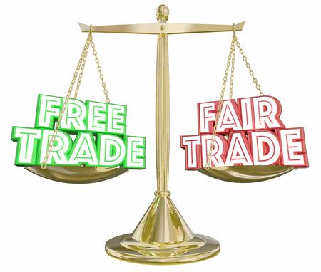 Gratis Vs Fair Trade Schaal Import Export Weighing Choices 3d Illustratie