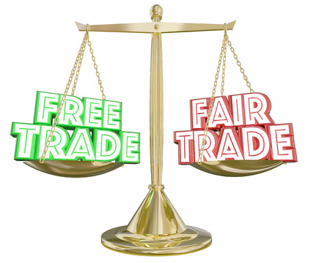 Free Vs Fair Trade Scale Import Export Weighing Choices 3d Illustration