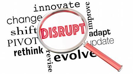 Disrupt Change Innovate Evolve Magnifying Glass 3d Illustration