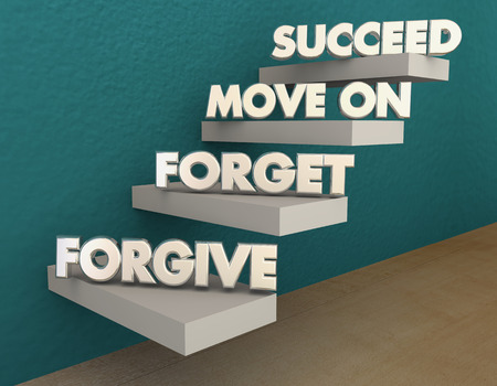 Forgive Forget Move On Succeed Steps 3d Illustration Stock fotó - 71263619