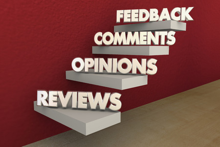 opinions: Feedback Reviews Opinions Comments Steps Words 3d Illustration