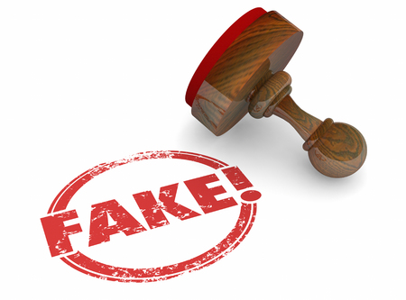 fraudulent: Fake Wrong Incorrect Lies Rejected Stamp Word 3d Illustration
