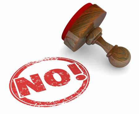 denial: No Word Stam Rejection Turned Down Negative Answer 3d Illustration Stock Photo