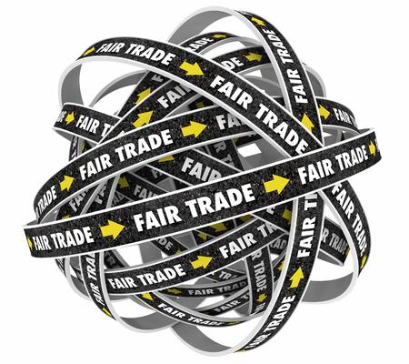 treaty: Fair Trade No Taxes Tariffs Fees Road Words 3d Illustration Stock Photo