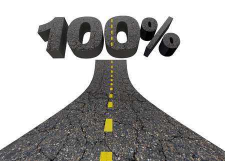 100 Percent One Hundred Top Score Total Complete Road 3d Illustration