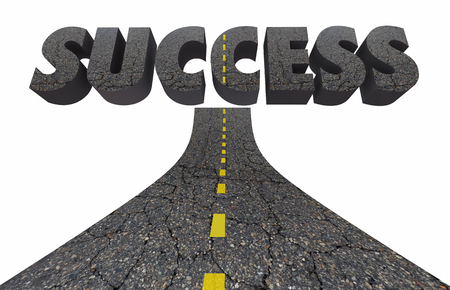 succeeding: Road to Success Achieve Great Results Succeed 3d Illustration