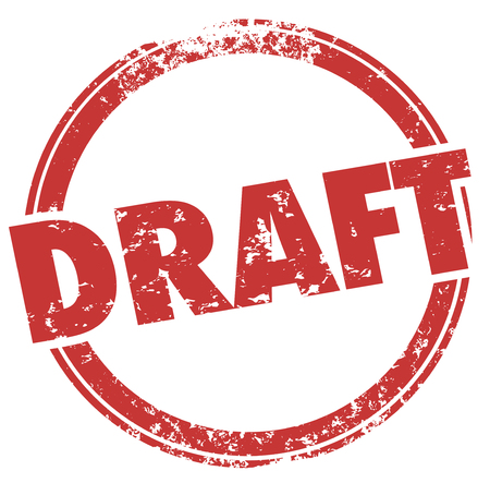 Draft First Early Probeer Stempel Word 3D Illustratie