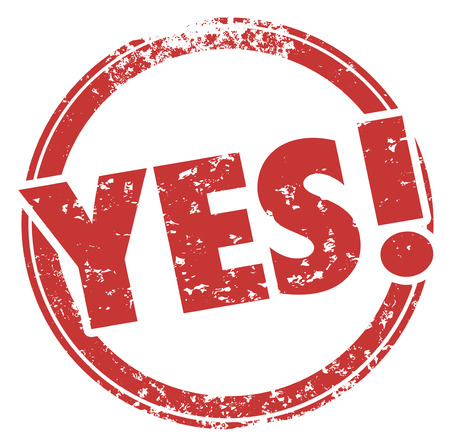affirmative: Yes Accepted Approved Word Red Round Stamp 3d Illustration