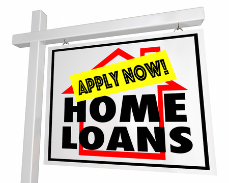 borrower: Home Loans Mortgage Apply Now House For Sale Sign 3d Illustration