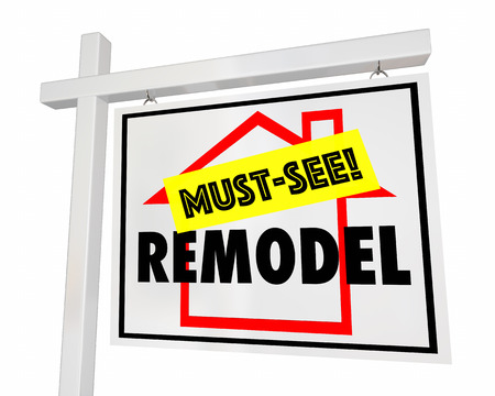 house construction: Remodel Home Must See For Sale Sign House 3d Illustration