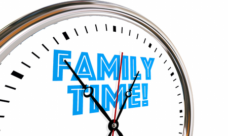 enjoyable: Family Time Clock Words Hands Ticking Going By 3d Illustration
