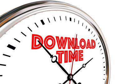 Download Time Internet Speed Get Online Digital Files Clock 3d Illustration Stock Photo