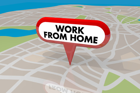 Work From Home Employee Trend Map Pin Words 3d Illustration