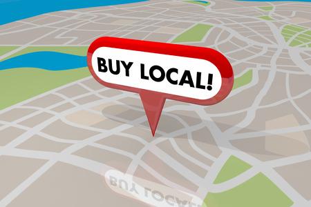 ローカル Pin 地図言葉ショップあなたの故郷を購入する 3 d イラストレーション