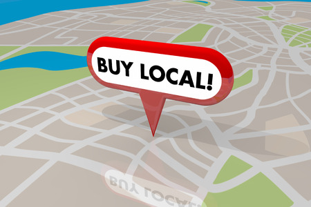 pinning: Buy Local Pin Map Words Shop Your Hometown 3d Illustration