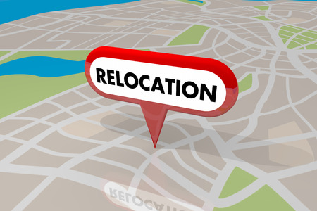 Relocation Moving Map Pin Word New Home Business 3d Illustration Stock Photo