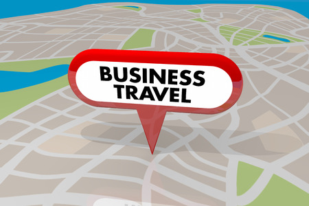 pinning: Business Travel Pin Map Words Worker Transportation 3d Illustration